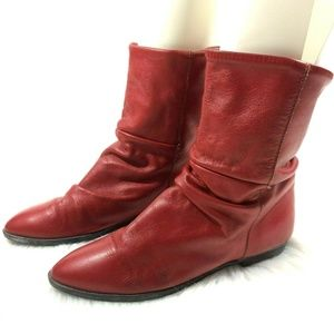 Vintage Dexter Red Ankle Boots Slouch Boho